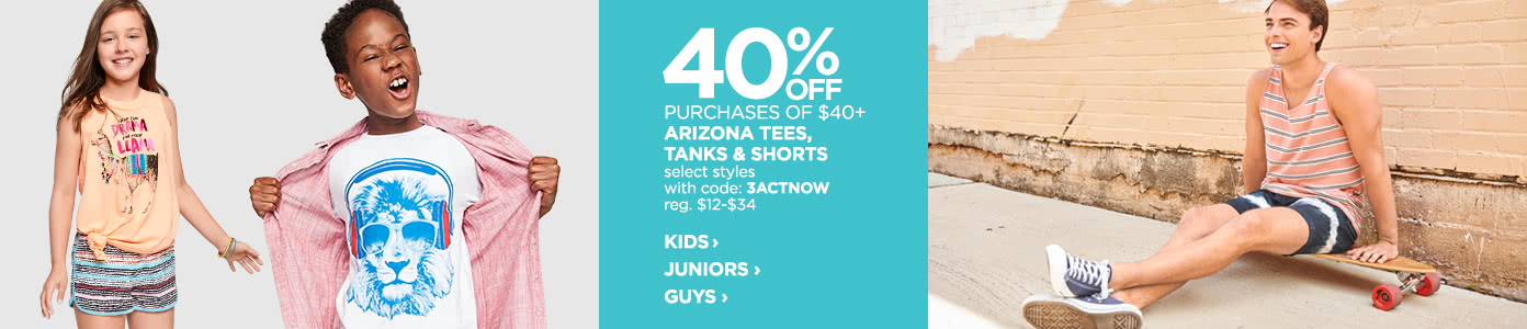 40% off purchases of $40 or more on Arizona tees, tanks and shorts