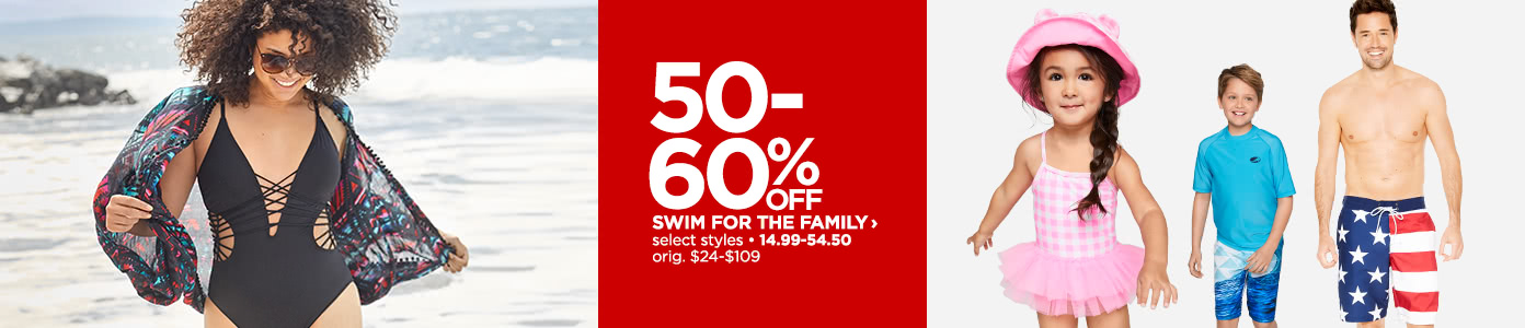 50-60% off Swimwear for the Family, select styles, reg. $24-$109