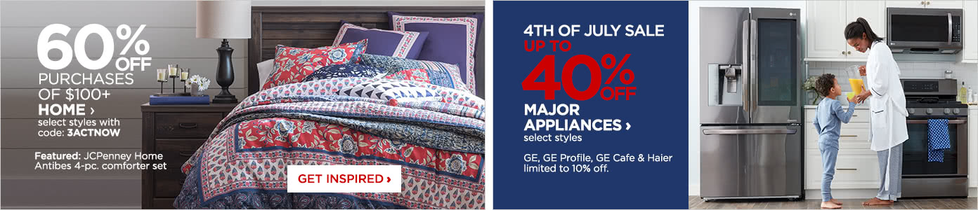 60% off home purchases of $100 or more. Up to 40% off major appliances.