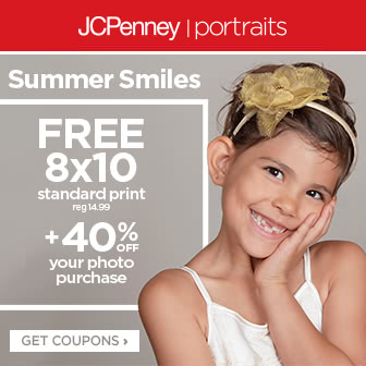 JCPenney Portraits free 8x10 standard print and 40% off photo purchase. Get coupons.