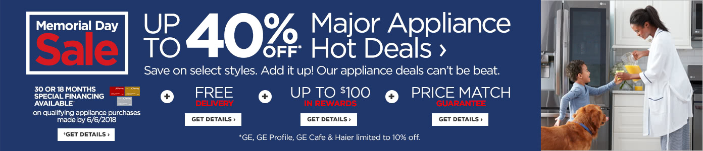 Up to 40% off Major Appliances