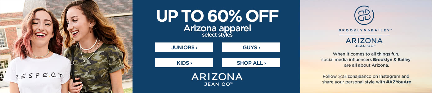 Up to 60% off Arizona apparel