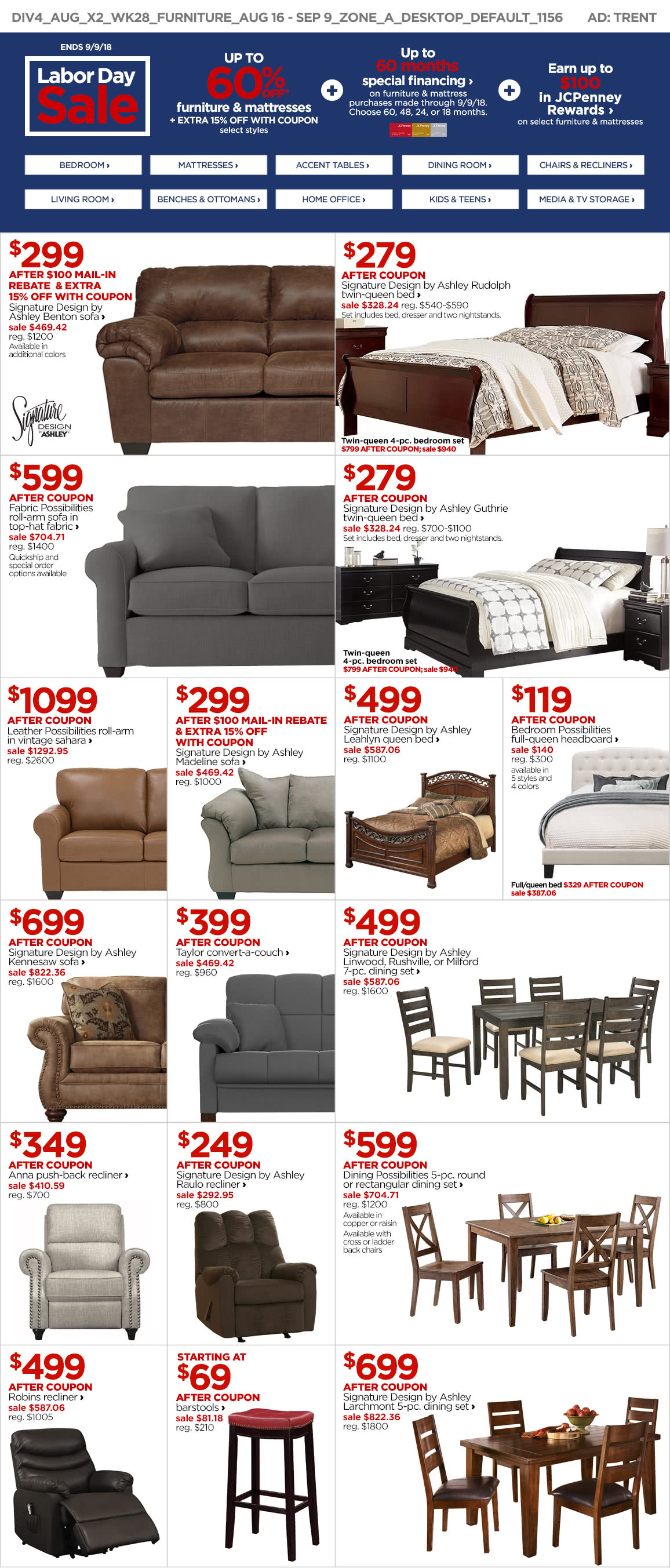 Up to 60% Off Furniture and Mattresses